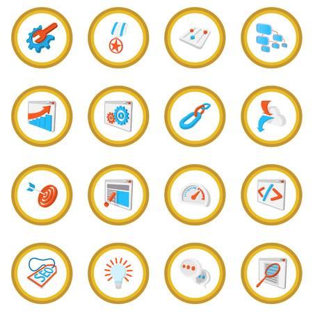 icons site search: Seo 16 cartoon icon circle Illustration