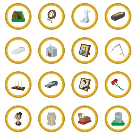 Funeral and burial cartoon icon circle