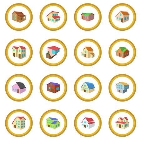real estate house: Houses cartoon icon circle Illustration