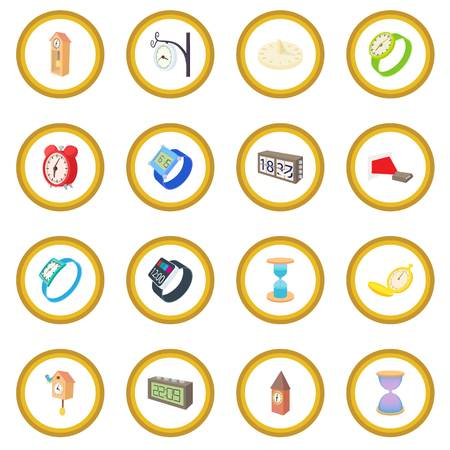 Clock and watch icon circle