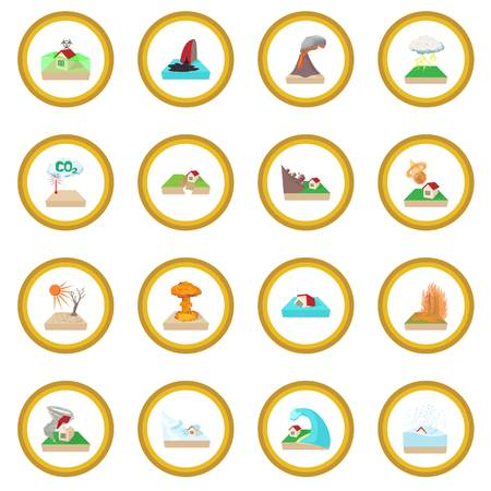Natural disaster icon circle Illustration