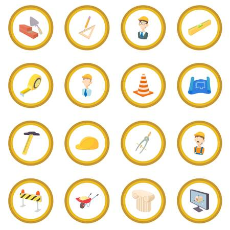 Repair and construction working tools icon circle Illustration