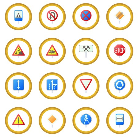Road Sign Set icon circle Illustration