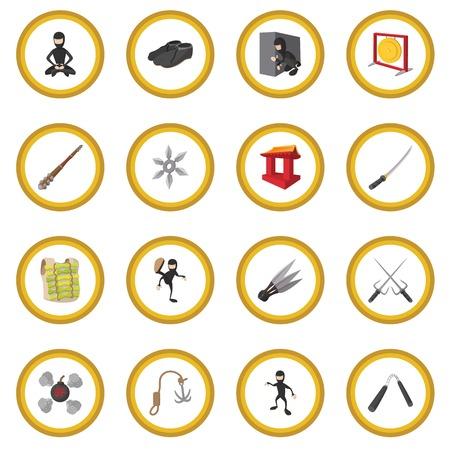 Ninja cartoon icon circle Illustration