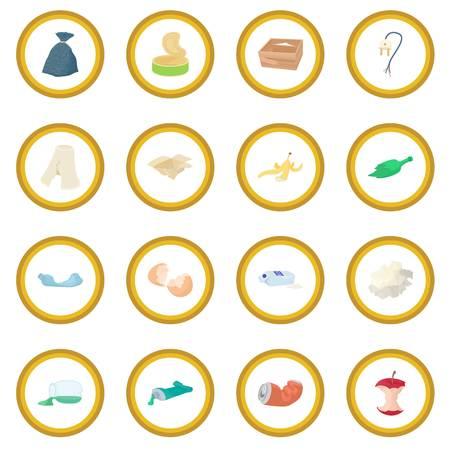 aluminium: Garbage set icon circle
