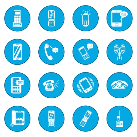 cell phone transmitter tower: Phone icon blue