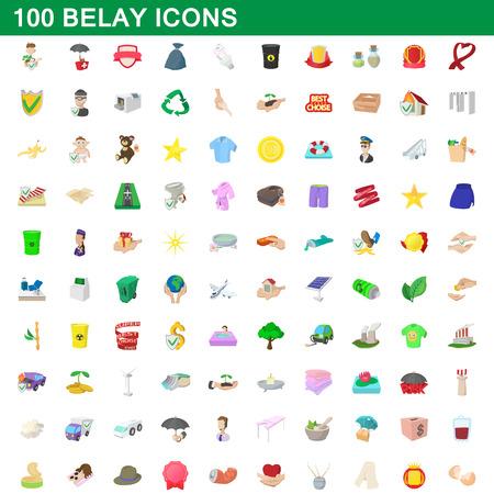 mountaineering: 100 belay icons set, cartoon style