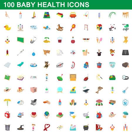 100 아기 건강 아이콘 설정, 만화 스타일