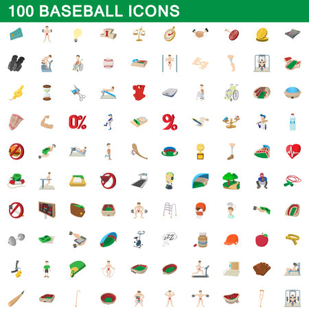 jersey: 100 baseball icons set, cartoon style Illustration