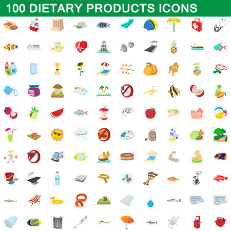 piramide nutricional: 100 dietary products icons set, cartoon style