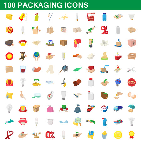 fruit trade: 100 packaging icons set, cartoon style Illustration