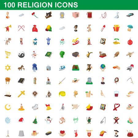 assisting: 100 religion icons set, cartoon style.