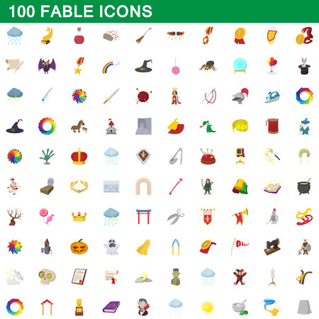 fable: 100 fable icons set, cartoon style