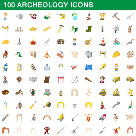 ancient civilization: 100 archeology icons set, cartoon style