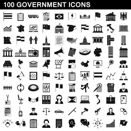 100 geplaatste overheidspictogrammen, eenvoudige stijl Vector Illustratie