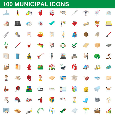 hotel building: 100 municipal icons set in cartoon style for any design vector illustration Illustration