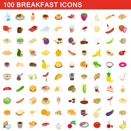 100 breakfast icons set, isometric 3d style 向量圖像
