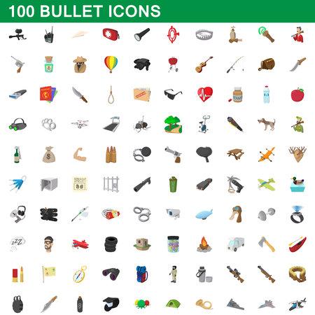 100 geplaatste kogelpictogrammen, beeldverhaalstijl