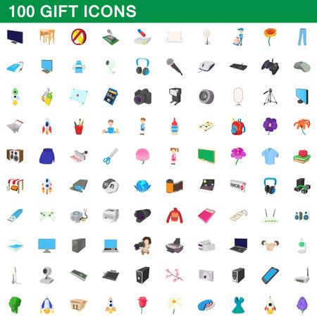 techology: 100 gift icons set, cartoon style Illustration