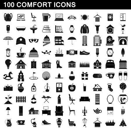 black family: 100 comfort icons set, simple style