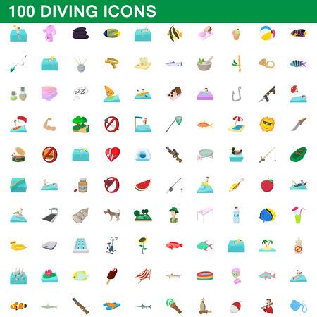 100 jeux d'icônes de plongée, style de dessin animé