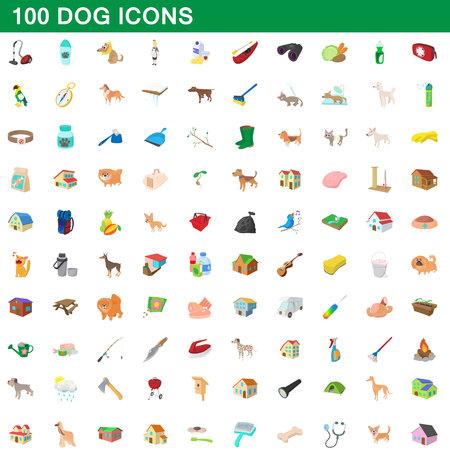 100 dog icons set, cartoon style Illustration