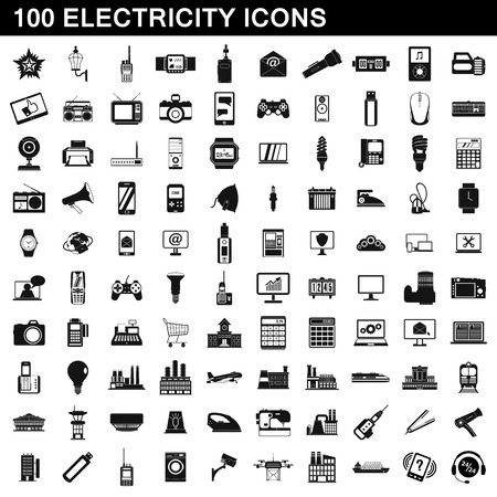100 electricity icons set, simple style Illustration