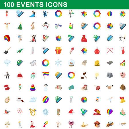 100 events icons set, cartoon style