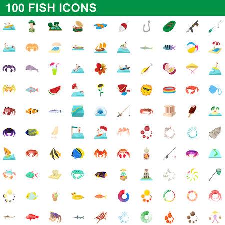 100 fish icons set, cartoon style