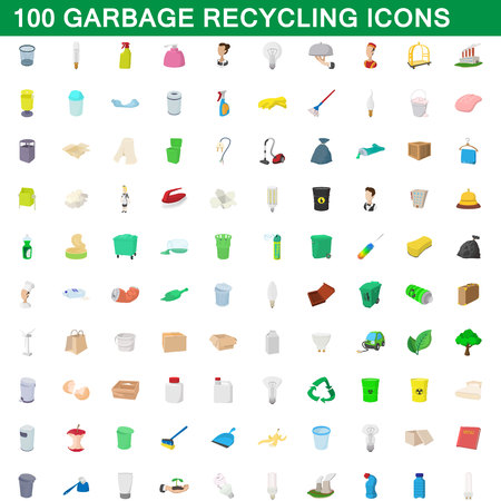 100 garbage recycling icons set, cartoon style