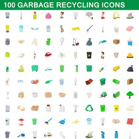 Ensemble d'icônes de recyclage des ordures, style de bande dessinée