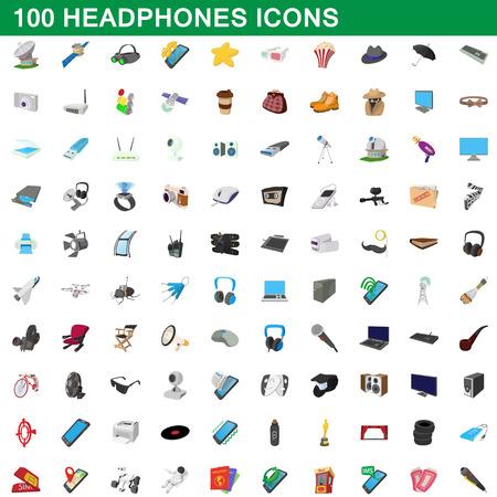 100 headphones icons set, cartoon style Illustration