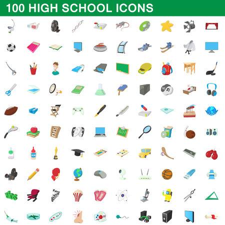 Ensemble d'icônes de 100 lycées, style de dessin animé