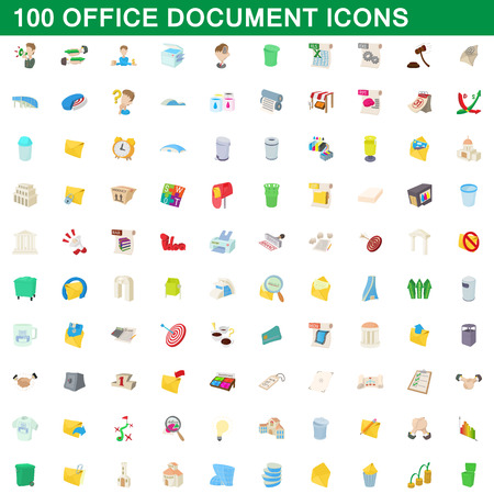 100 office document icons set in cartoon style for any design vector illustration