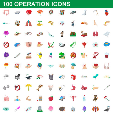 100 operation icons set in cartoon style for any design vector illustration