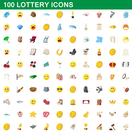 100 lottery icons set in cartoon style for any design vector illustration