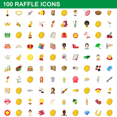 100 raffle icons set in cartoon style for any design vector illustration