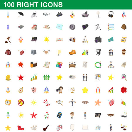 100 right icons set in cartoon style for any design vector illustration Illustration