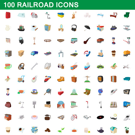 100 railroad icons set in cartoon style for any design vector illustration