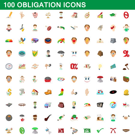 100 obligation icons set in cartoon style for any design vector illustration Illustration