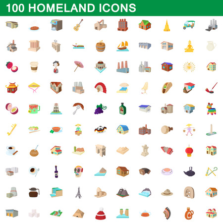 100 homeland icons set in cartoon style for any design vector illustration Ilustrace