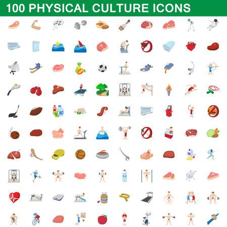 100 icônes de culture physique dans le style de dessin animé pour toute illustration de vecteur de conception