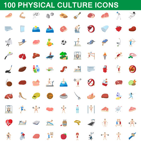 100 physical culture icons set in cartoon style for any design vector illustration