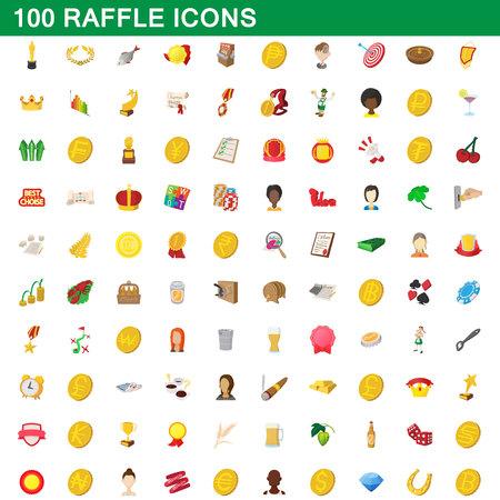 100 raffle icons set, cartoon style