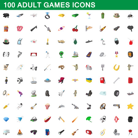 100 adult games icons set in cartoon style for any design vector illustration