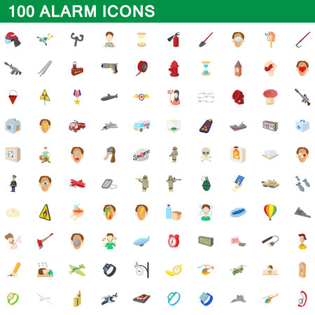 100 alarm icons set in cartoon style for any design vector illustration