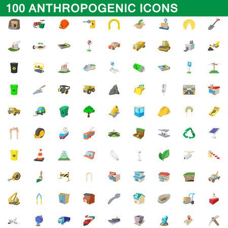 100 icônes anthropiques mises en forme de bande dessinée pour toute illustration vectorielle de design Illustration
