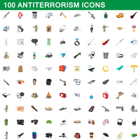 100 antiterrorism icons set in cartoon style for any design vector illustration