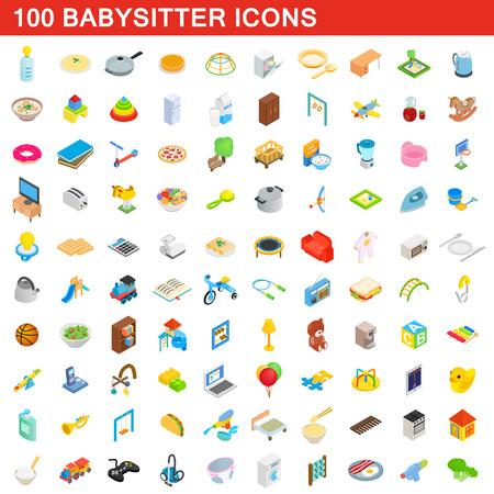 100 icônes de baby-sitter définie dans le style 3d isométrique pour toute illustration vectorielle de conception Illustration