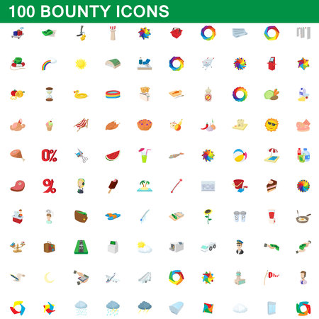 100 bounty icons set in cartoon style for any design vector illustration